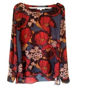 LOFT Modern Floral Blouse with Convertible Sleeve